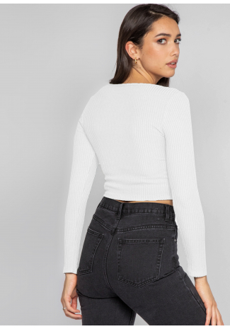 Rib knit ruched crop jumper in white