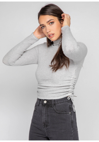 High neck jumper with ruched side detail in grey