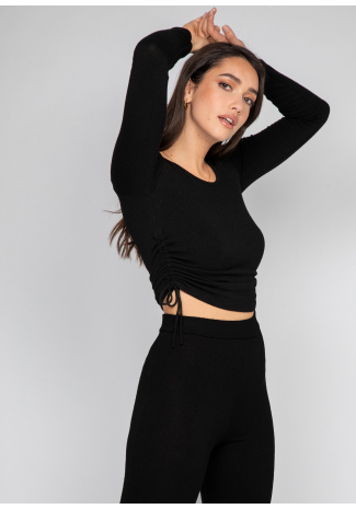 Jumper with ruched sides detail in black