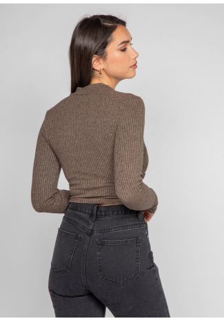 High neck cross over top with cut out in brown