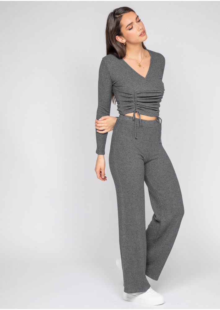 Wrap top with ruched front in grey