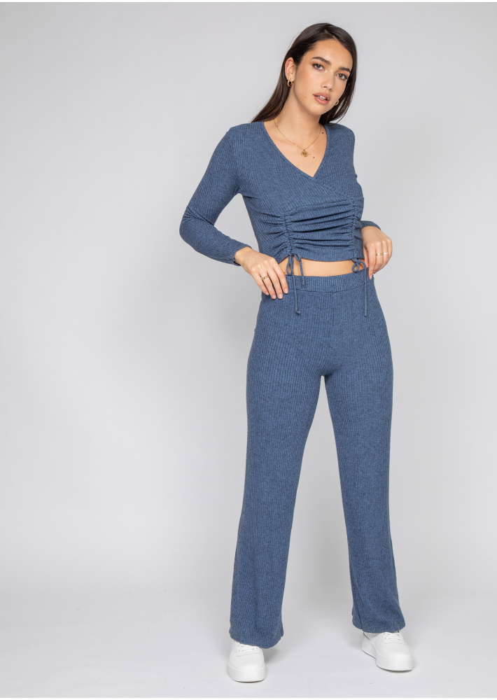 Wrap top with ruched front in blue