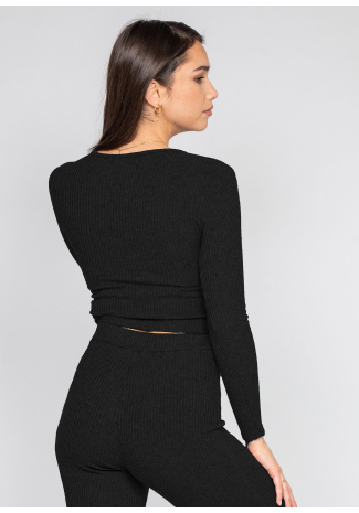 Wrap top with ruched front in black