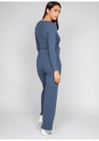 Pantalones de pernera ancha de canalé en azul