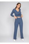 Ribbed wide leg trouser in blue