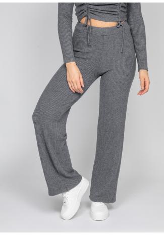 Pantalones de pernera ancha de canalé en gris