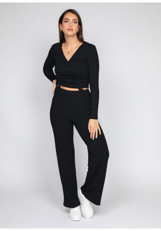 Ribbed wide leg trouser in black