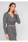 Ribbed wide leg trouser in grey