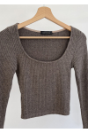 Ribbed top with square neck in brown
