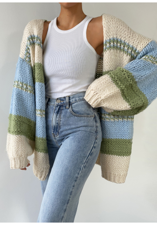 Chunky knitted colourblock cardigan