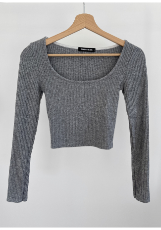 Ribbed top with square neck in grey