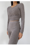 Jumper with ruched sides detail in taupe
