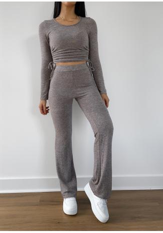 Pantalon évasé taupe