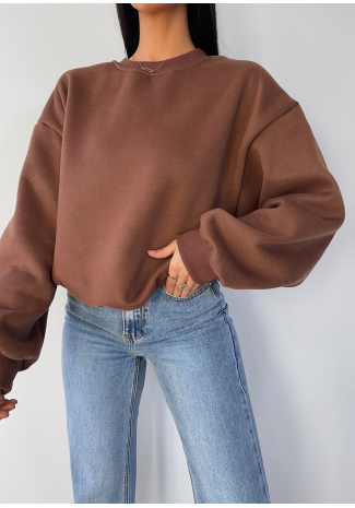 Sweat oversize en coton marron