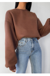 Cotton oversized sweatshirt in brown