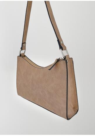 Croc effect shoulder bag in taupe