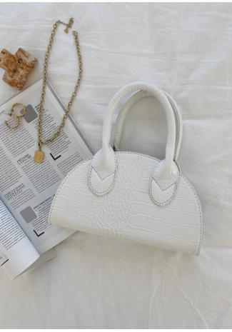 Bolso con diseño de media luna de cocodrilo blanco