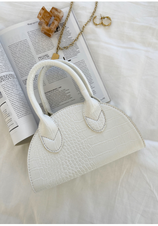Half moon bag in white