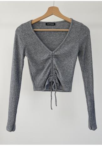 Rib knit ruched crop jumper in grey