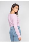 Fluffy cropped cardigan in lilac