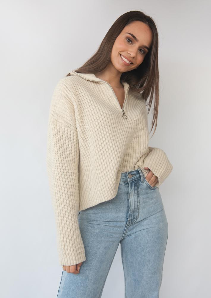 Knitted oversized rib half zip jumper in beige