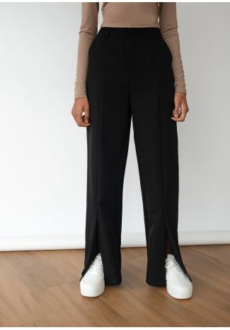 Split front trouser in black