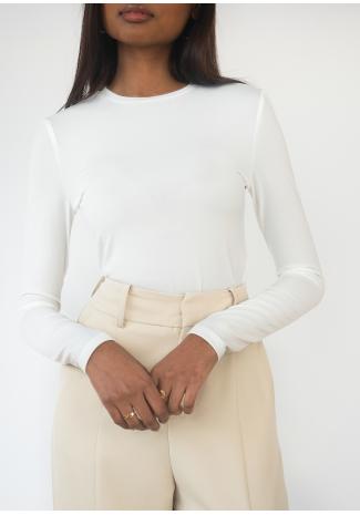 Long sleeve slim fit top in white
