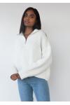 Knitted oversized rib half zip jumper in white