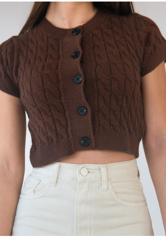 Short sleeve cable knit cardigan in brown