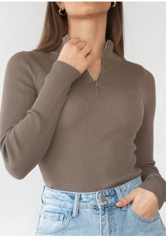 Jersey de media cremallera en tejido de canalé - Topo
