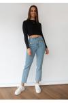 Jeans with asymmetric belt in blue