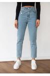 Jeans con cinturilla asimétrica en azul