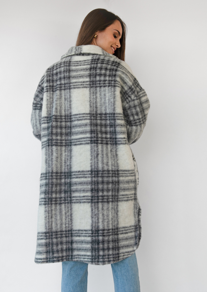 Long checked jacket in black