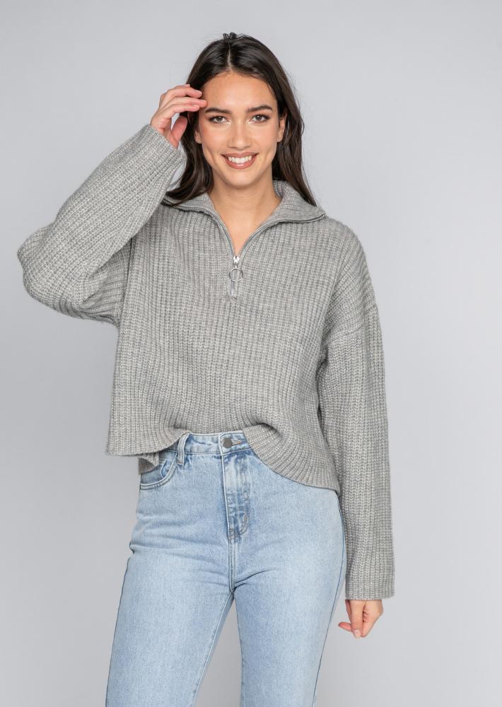 Knitted oversized rib half zip jumper in grey
