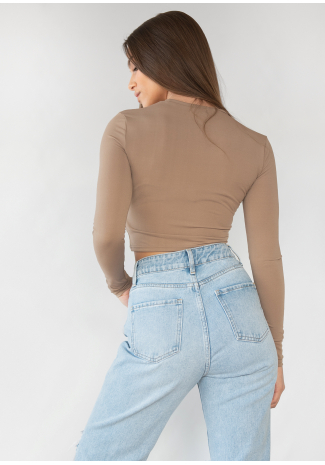 Long sleeve slim fit top in taupe