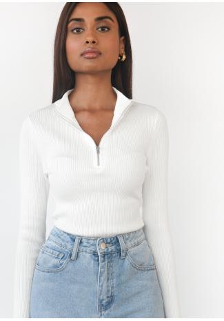 Ribbed half zip jumper in white