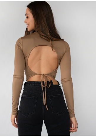 Open back top in taupe