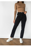 Jeans with asymmetric belt in black