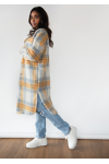 Long checked jacket in blue and orange