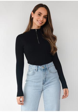 Ribbed half zip jumper in black