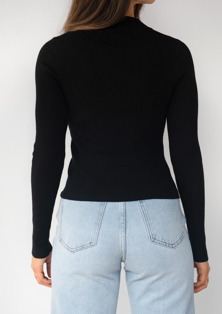 Jersey de media cremallera en tejido de canalé - Negro