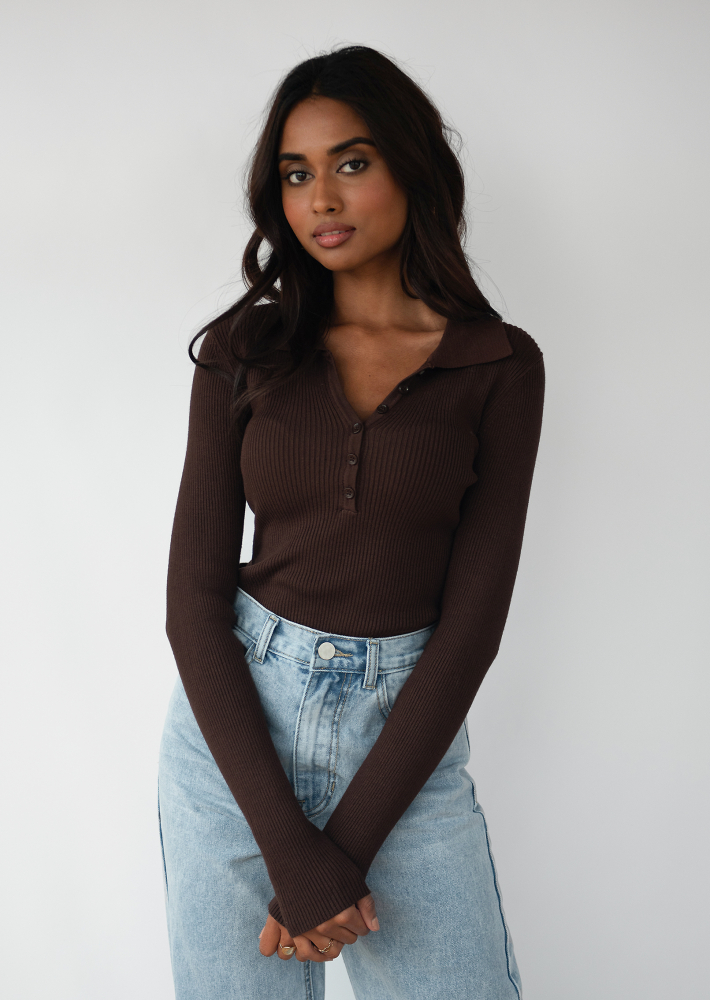 Knitted button up top with collar in brown
