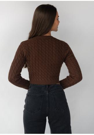 Cardigan en maille torsadée marron