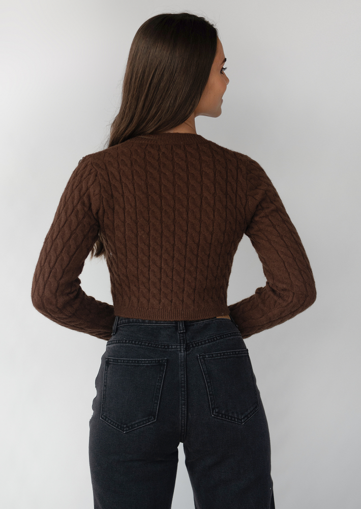 Cable knit cardigan in brown