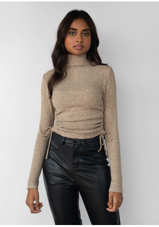 High neck jumper with ruched side detail in camel