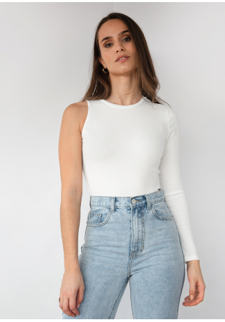 One shoulder long sleeve top in white