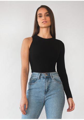 One shoulder long sleeve top in black