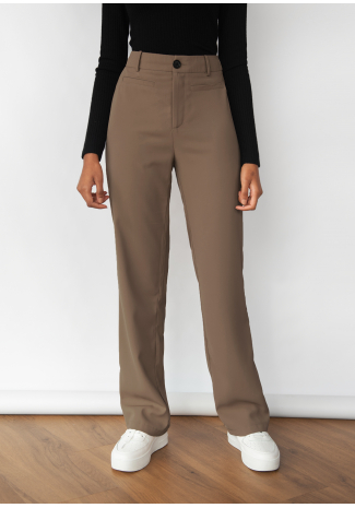 Tailored straight leg trousers - Brown