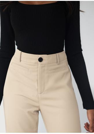 Pantalones de sastre de pernera recta - Beis