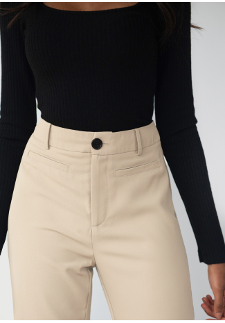 Tailored straight leg trousers - Beige
